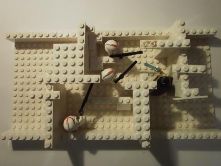 In der Gesamtansicht kann man schön erkennen, wie sich der Jedi und die Klone versuchen im Labyrinth der Eismaúern zu finden.
